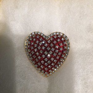 Lovely Red Heart Brooch Gold Toned with Rhinestone